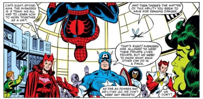 spidey and avengers panel