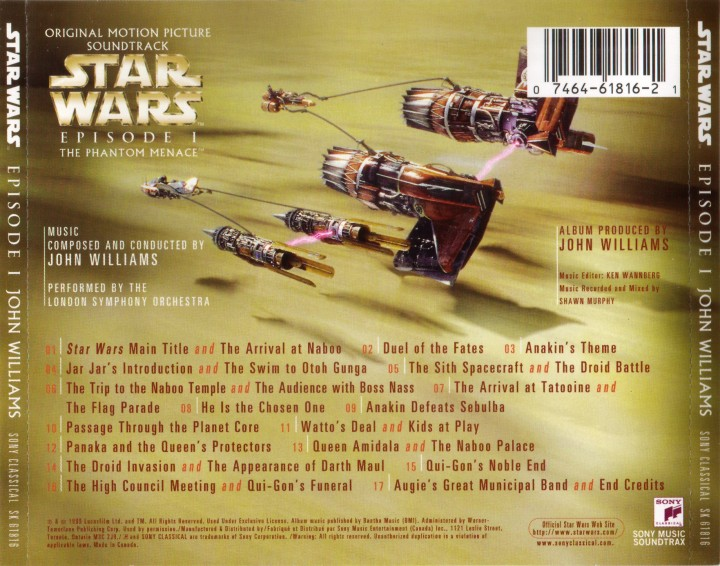 John Williams - Star Wars - Episode 1 The Phantom Menace (Soundtrack) (Canada) - Back